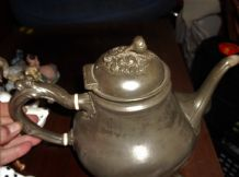 ANTIQUE SILVER PLATED COFFEE POT ORNATE FLOWER KNOB 4 FEET PHILIP ASHBERRY